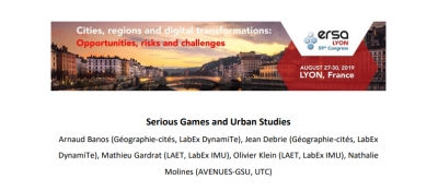 "ERSA congres 2019 : Special Session ""Serious Games and Urban Studies"""