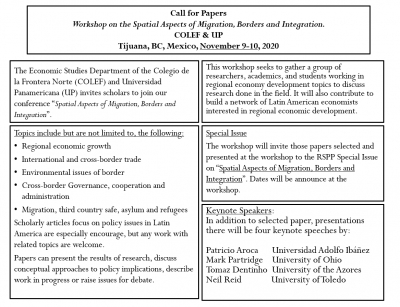 Call for Papers | Workshop on the Spatial Aspects of Migration, Borders and Integration, COLEF & UP, Tijuana, BC, Mexico, November 9-10, 2020