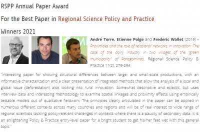 Winner 2021 RSPP Annual Paper Award For the Best Paper in Regional Science Policy and Practice published in 2019