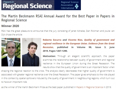 Winner 2020 - Martin Beckmann Annual Award for the best paper published in Papers in Regional Science in 2019